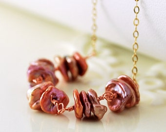 Copper Rose Genuine Freshwater Cornflake Keshi Keishi Pearl Necklace Choker Gold Jewelry Complimentary Shipping