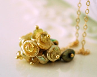 Gold Keishi Pearl Necklace, Flower Blossom, Yellow Genuine Tourmaline Gemstone, Wire Wrapped, Feminine, Gold Jewelry, Free Shipping