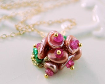 Rose Pink Keshi Keishi Pearl Necklace, Genuine Ruby Gemstone, Flower Blossom, Gold Jewelry, Free Shipping