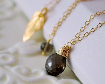 Smoky Quartz Necklace Layered Set Chain Chocolate Brown AAA Semiprecious Genuine Gemstone Gold Vermeil Jewelry Complimentary Shipping