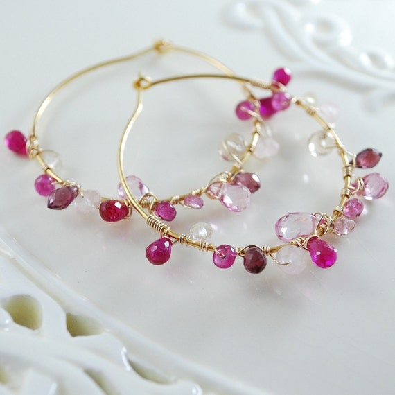 Pink Gemstone Earrings Wire Wrapped Hoops Gold Jewelry Complimentary Shipping