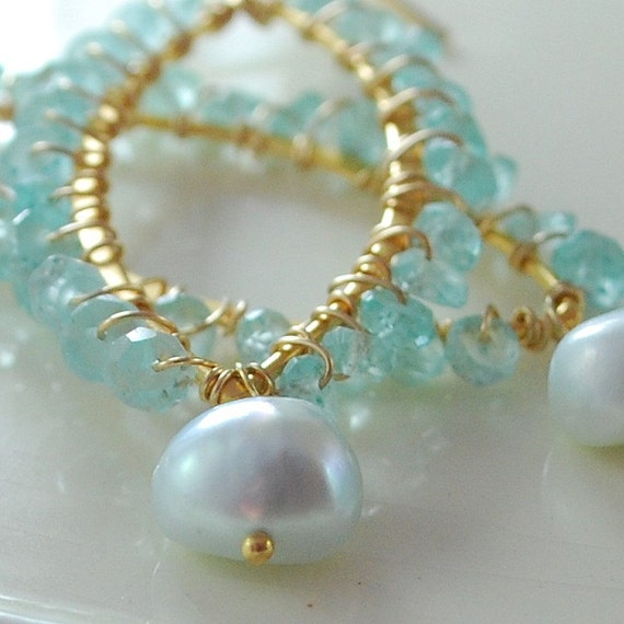 Apatite Earrings Wire Wrapped Marquise Pale Aqua Tiffany Blue Freshwater Pearls Indian Inspired Gold Jewelry Complimentary Shipping