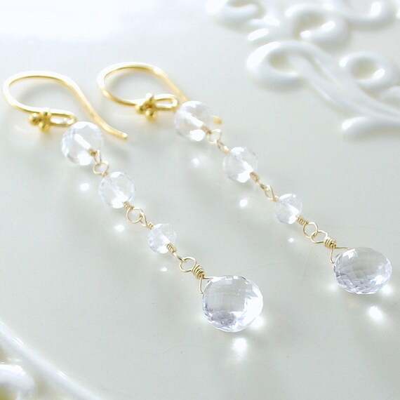 Long Crystal Quartz Earrings Clear Sparkly AAA Semiprecious Gemstone Wire Wrapped Bridal Gold Jewelry Complimentary Shipping