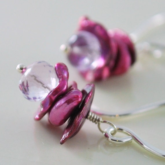 Pink Amethyst Earrings Purple Keishi Keshi Freshwater Pearls Magenta Wire Wrapped Sterling Silver Jewelry Complimentary Shipping