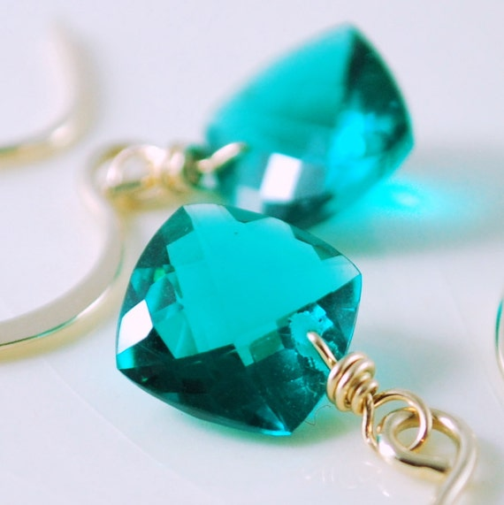 Gemstone Earrings Quartz Deep Teal Bright Neon Blue Green Cushion Cut Simple Sparkly Gold Filled Jewelry Complimentary Shipping
