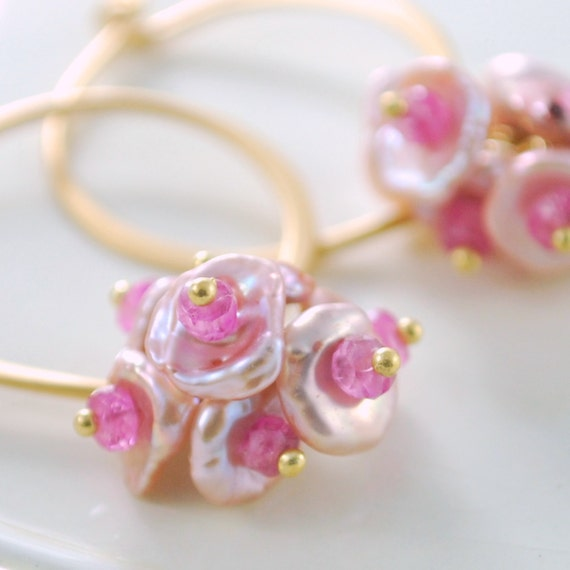 Pink Keshi Keishi Pearl Earrings Gold Jewelry Genuine Ruby Precious Gemstone Complimentary Shipping