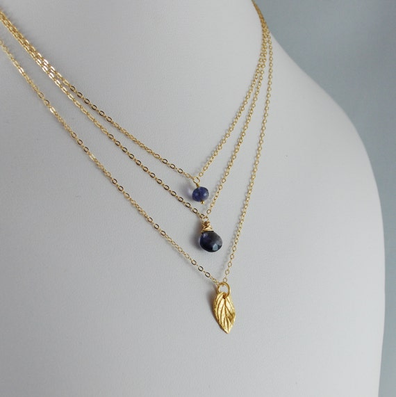 Iolite Necklace Layering Gold Jewelry Set of Three Vermeil Leaf Charm Navy Blue Semiprecious Gemstone Complimentary Shipping