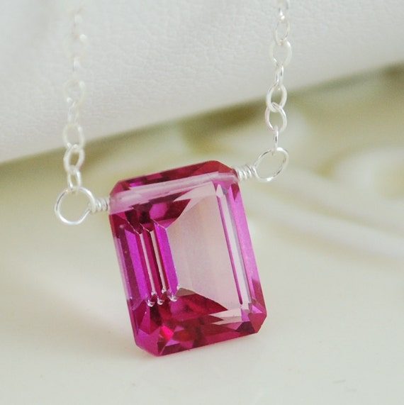 Hot Pink Topaz Necklace Emerald Cut AAA Gemstone Fuchsia Modern Sterling Silver Jewelry Complimentary Shipping