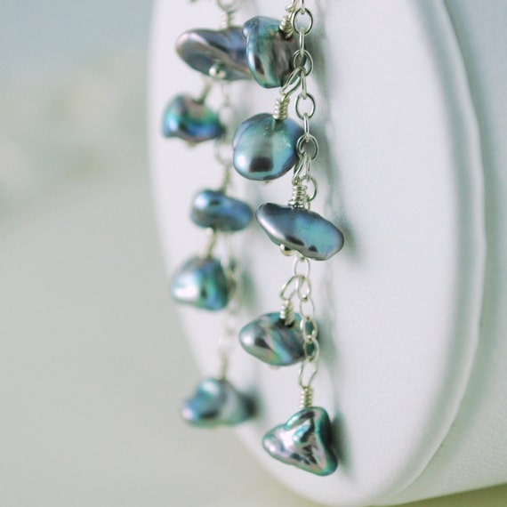 Blue Keishi Pearl Earrings Genuine Freshwater Keshi Dangling Wire Wrapped Sterling Silver Jewelry Complimentary Shipping
