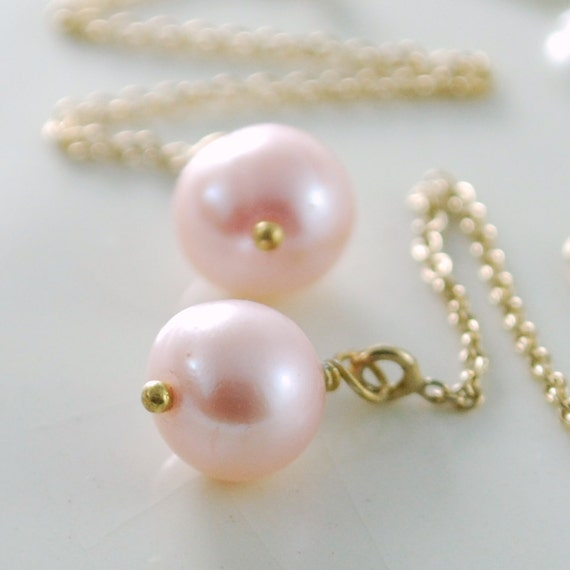 Blush Pink Pearl Threader Earrings, Simple Classic, Pastel, Wire Wrapped, Genuine Freshwater, Sterling Silver or Gold Jewelry, Free Shipping