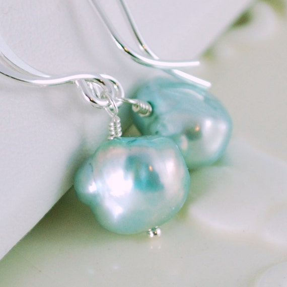 Genuine Aqua Freshwater Pearl Drop Earrings, Simple, Sterling Silver, Robins Egg Blue Jewelry, Grey Jade, Free Shipping