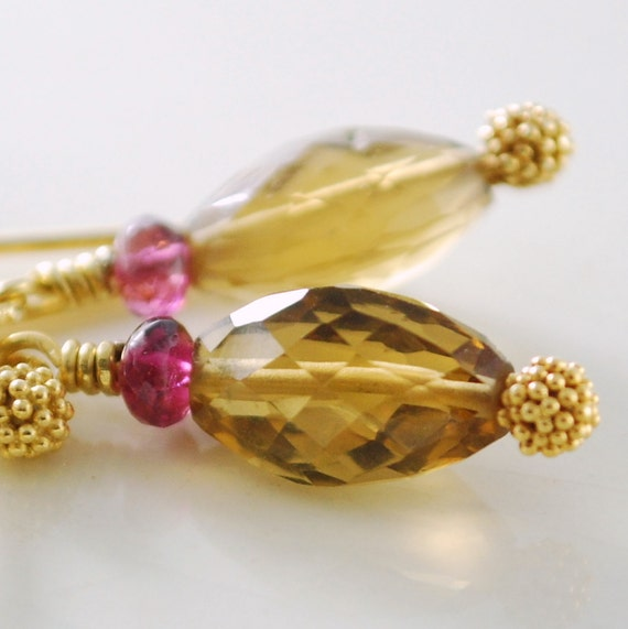 Gemstone Earrings Beer Quartz Pink Tourmaline Genuine Stone Wire Wrapped Gold Jewelry Complimentary Shipping