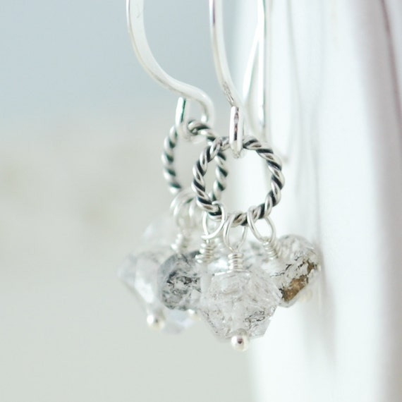 Herkimer Diamond Earrings Semiprecious Gemstone Wire Wrapped Cluster Neutral Sterling Silver Jewelry Complimentary Shipping