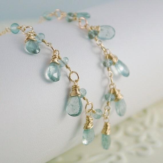 Moss Aquamarine Necklace Drops Genuine Semiprecious Gemstone Aqua Wire Wrapped Gold Jewelry Complimentary Shipping