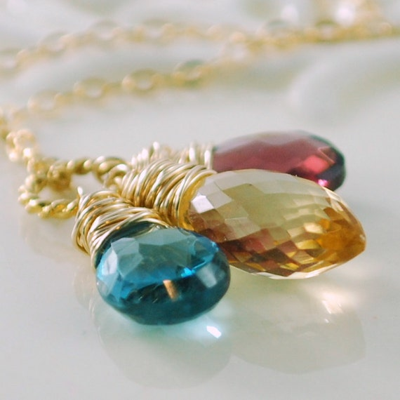 Gemstone Necklace Golden Citrine Teal London Blue Topaz Raspberry Rhodolite Garnet AAA Gold Wire Wrapped Jewelry Complimentary Shipping