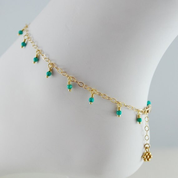 Genuine Turquoise Anklet, Gemstone Dangles, Boho Indian Inspired, Delicate Ankle Bracelet, Gold Vermeil Jewelry, Free Shipping