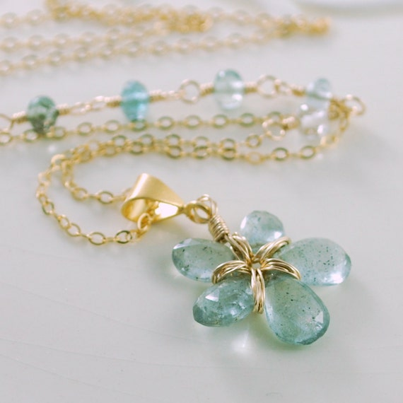 Genuine Moss Aquamarine Necklace Chain Gemstone Flower Floral Pendant Wire Wrapped Gold Jewelry Complimentary Shipping