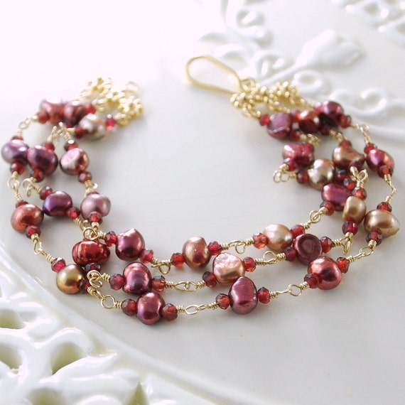 SALE Genuine Garnet Bracelet Triple Strand Multistrand Gemstone Freshwater Pearls Wire Wrapped Gold Jewelry Free Shipping Black Friday