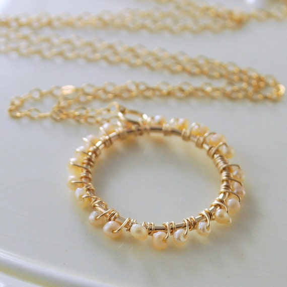 Peach Freshwater Pearl Necklace Wire Wrapped Ring Gold Jewelry Complimentary Shipping