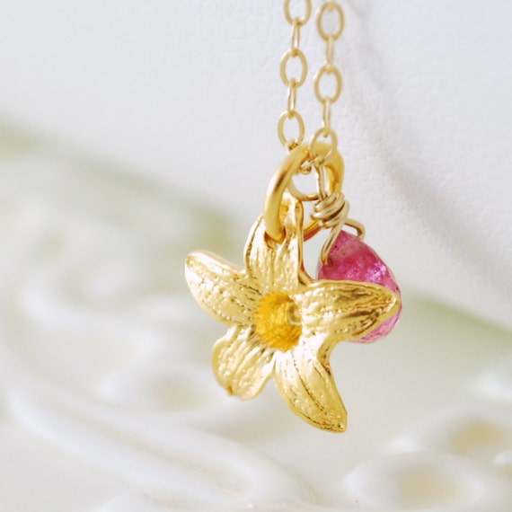 Real Ruby Necklace, Gold Vermeil, Jasmine Flower, Hot Pink, Precious Gemstone Jewelry, Free Shipping