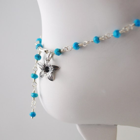 Genuine Turquoise Anklet Bright Aqua Gemstone Jasmine Flower Sterling Silver Wire Wrapped Jewelry Complimentary Shipping