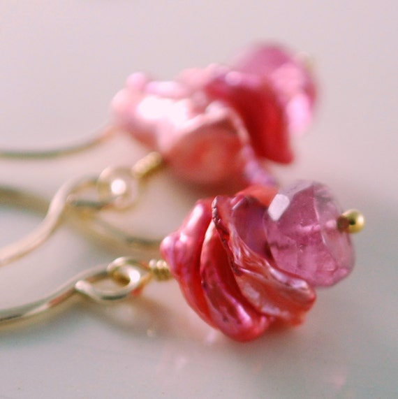 Pink Tourmaline Earrings Genuine Natural Coral Keishi Keshi Pearls Feminine Pretty Wire Wrapped Gemstone Gold Jewelry Complimentary Shipping