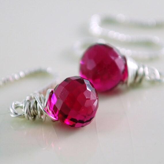 Fuchsia Quartz Earrings Gemstone Threaders Semiprecious Dark Raspberry Luxe AAA Onion Sterling Silver Jewelry Complimentary Shipping