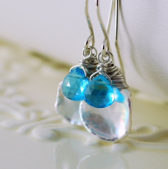 Reserved - Keishi Earrings Swiss Blue Topaz Freshwater Pearl Genuine Gemstone December Birthstone Sterling Silver Jewelry Free Shipping