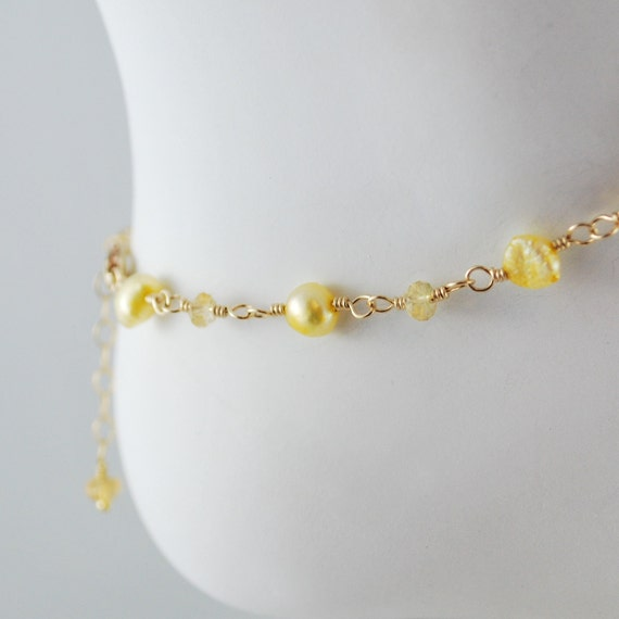 Freshwater Pearl and Citrine Anklet Genuine Gemstone Yellow November Birthstone Wire Wrapped Delicate Gold Jewelry Complimentary Shipping