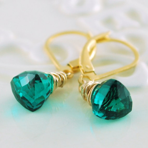 Bright Emerald Green Gemstone Drop Earrings Genuine Quartz Semiprecious Wire Wrapped Leverback Gold Vermeil Jewelry Complimentary Shipping