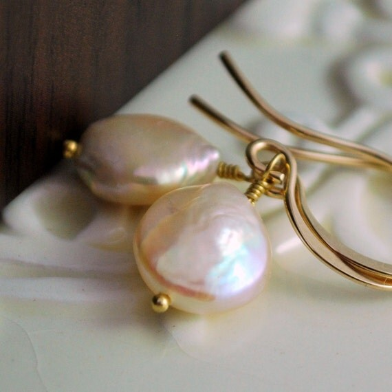 Peach Coin Pearl Earrings, Drop, Genuine Freshwater, Simple, Wire Wrapped, Sterling Silver or Gold Jewelry, Free Shipping