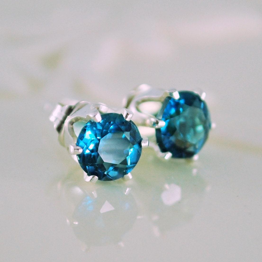 london blue topaz stud earrings genuine deep teal gemstone. Black Bedroom Furniture Sets. Home Design Ideas