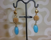 Upcycled/Recycled Victorian Inspired  Light Blue Antique Vintage Earrings