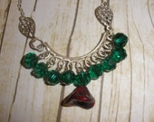 Emerald Green and Red Picasso Czech Glass Necklace