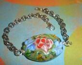 Large Floral Lampwork Bead Bracelet