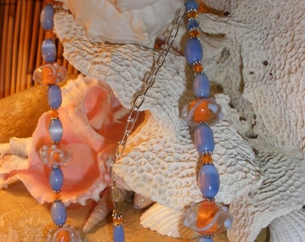 Periwinkle Mandrin Lampwork Glass Bead Necklace
