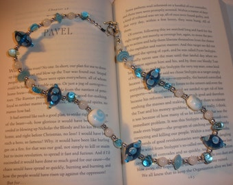 Ocean Blue Lampwork Glass Bead Necklace