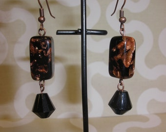 Recycled/ Upcycled Black Copper Vintage Glass bead earrings