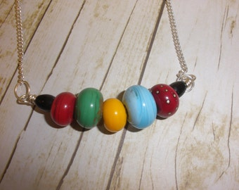 Bright Orphan Lampwork Bead Necklace