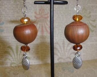 Real Acorn  Earrings