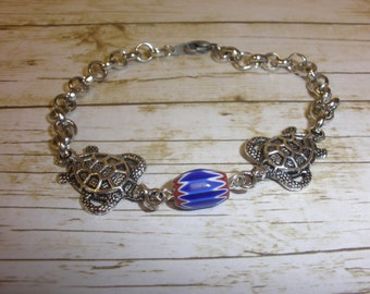 Red,White, and Blue Ceramic Barrel Seaturtle Bracelet