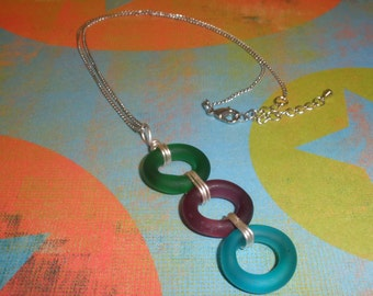 3 Ring Matte Glass Necklace