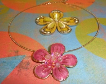 Retro Upcycled/ Recycled Broach Pin Necklace