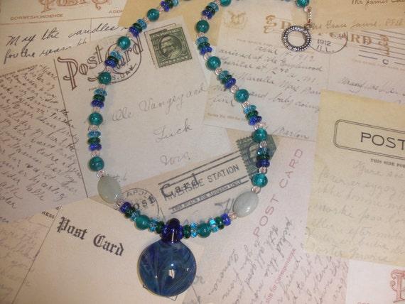 Blue Swirled Boro Glass Pendant Necklace
