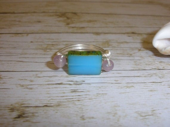 Light Blue Picasso Bead Ring