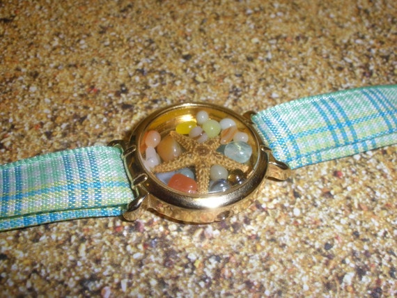 Upcycled/Recycled Mermaid's  Watch Bracelet with real Starfish Light Blue/Green Plaid Band