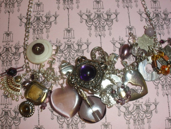 Recycled/Upcycled Silver and Purple Charm Bracelet