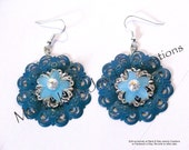 Painted TEAL OR RED metal filigree, silver tone filigree, Frosted Lucite star jasmine flower beads earrings
