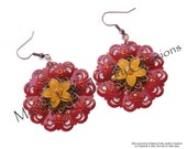 Painted RED metal filigree, silver tone filigree, light orange frosted Lucite star jasmine flower beads earrings