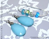 Blue and Green Lampwork Style Bracelet and Earrings set